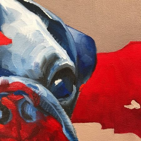 Artwork detail view - Blue Pug, Orange Pug