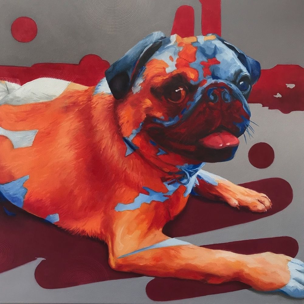 Full view of Corné Eksteen's Artwork: Blue Pug, Orange Pug